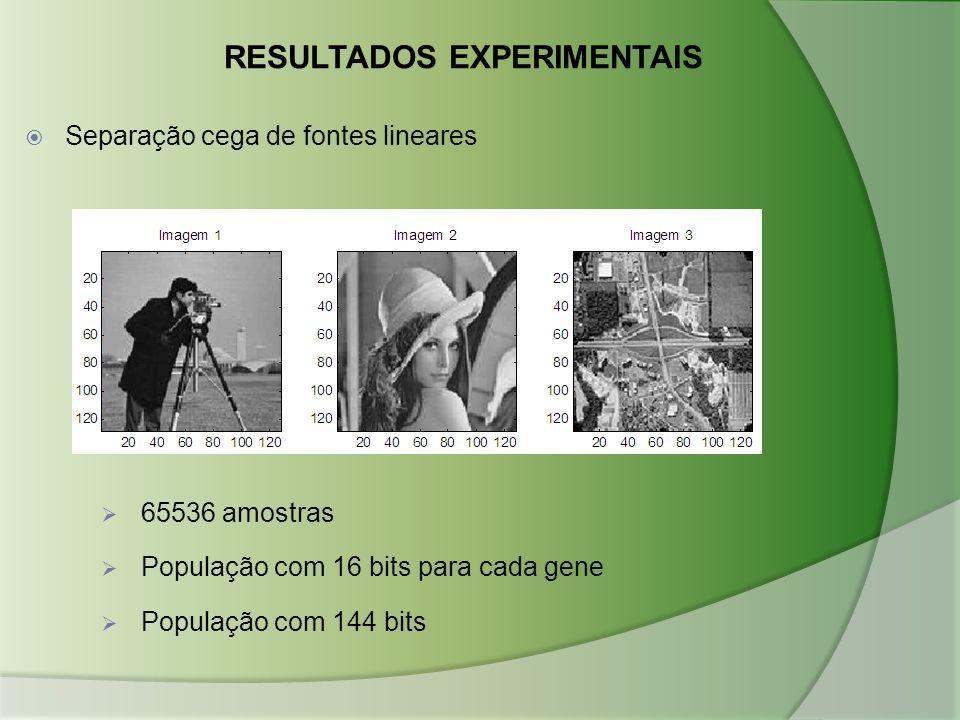 RESULTADOS EXPERIMENTAIS  65536 amostras  População com 16 bits para cada gene  População com 144 bits  Separação cega de fontes lineares