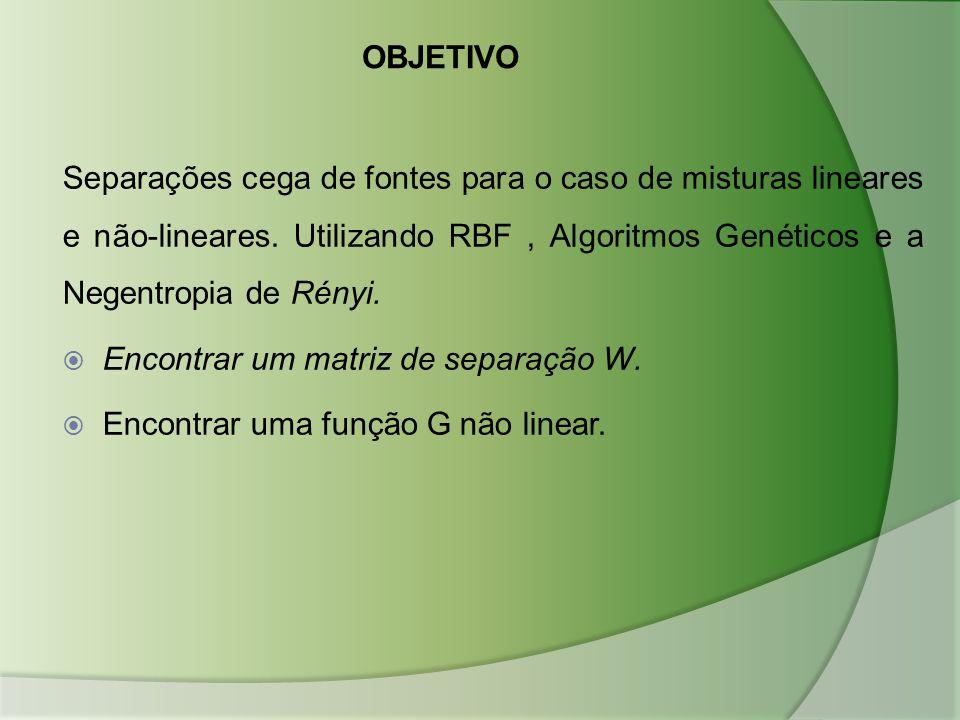 OBJETIVO Separações cega de fontes para o caso de misturas lineares e não-lineares. Utilizando RBF, Algoritmos Genéticos e a Negentropia de Rényi.  E