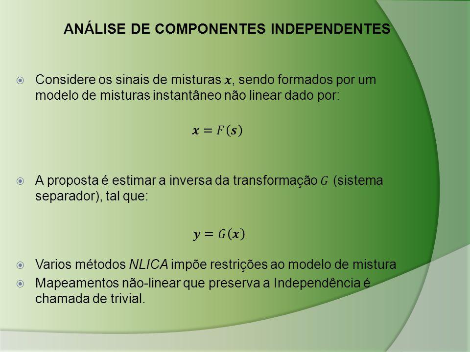  Varios métodos NLICA impõe restrições ao modelo de mistura  Mapeamentos não-linear que preserva a Independência é chamada de trivial. ANÁLISE DE CO