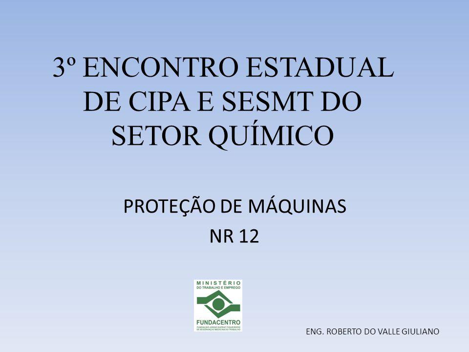 3º ENCONTRO ESTADUAL DE CIPA E SESMT DO SETOR QUÍMICO PROTEÇÃO DE MÁQUINAS NR 12 ENG. ROBERTO DO VALLE GIULIANO