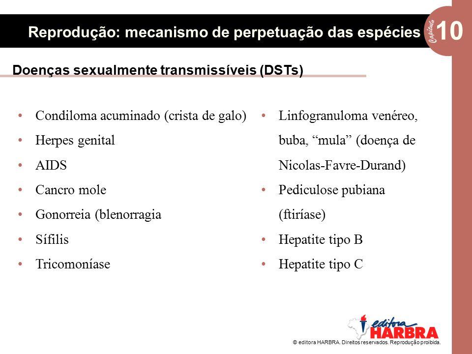© editora HARBRA. Direitos reservados. Reprodução proibida. 10 Reprodução: mecanismo de perpetuação das espécies Doenças sexualmente transmissíveis (D