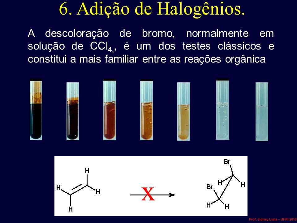 6. Adição de Halogênios. A descoloração de bromo, normalmente em solução de CCl 4,, é um dos testes clássicos e constitui a mais familiar entre as rea