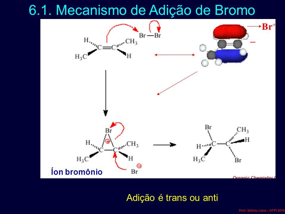 6.1. Mecanismo de Adição de Bromo Br + Adição é trans ou anti Íon bromônio Prof. Sidney Lima – UFPI 2010