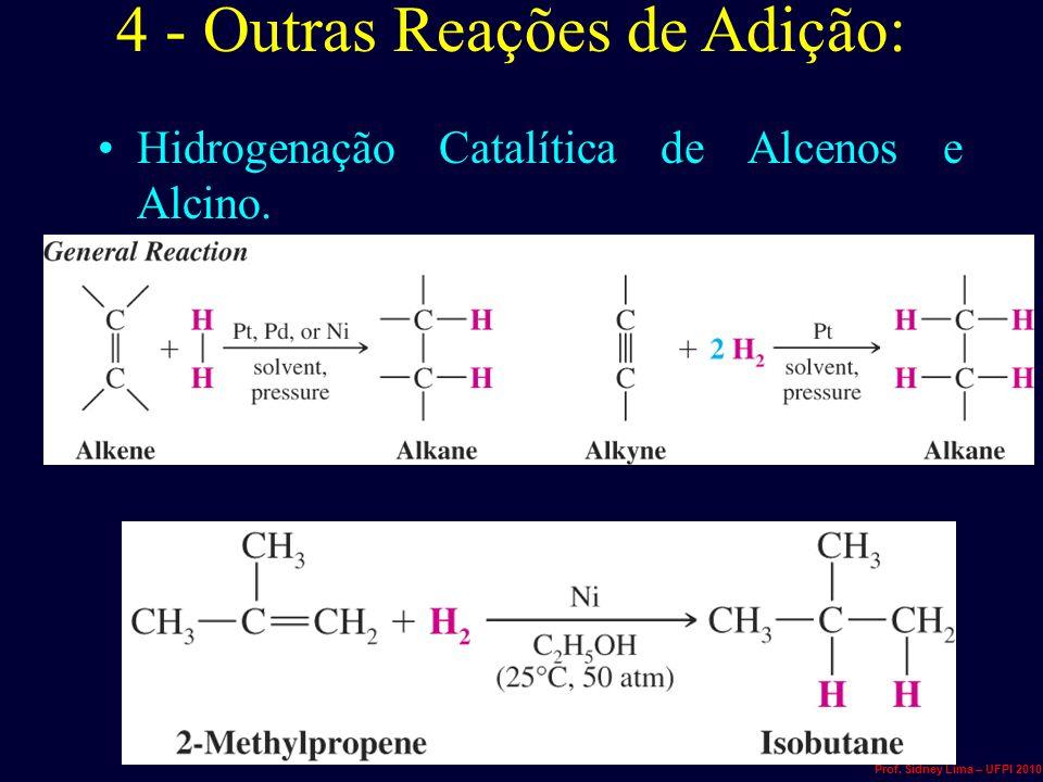 4 - Outras Reações de Adição: Hidrogenação Catalítica de Alcenos e Alcino. Prof. Sidney Lima – UFPI 2010