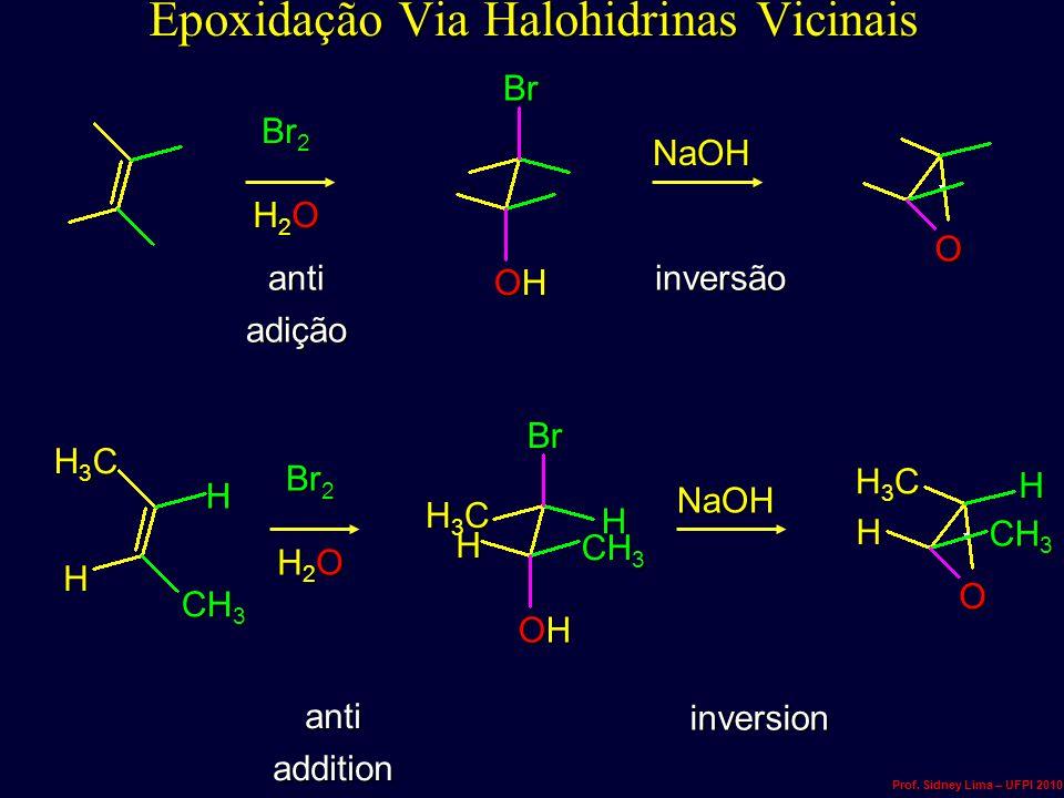 anti adição inversão Epoxidação Via Halohidrinas Vicinais Br 2 H2OH2OH2OH2O OHOHOHOH BrNaOHO anti addition inversion Br 2 H2OH2OH2OH2O OHOHOHOH NaOH O