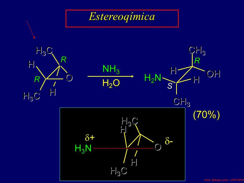 NH 3 H2OH2OH2OH2O (70%) ++++ ---- R S R R Estereoqímica H3CH3CH3CH3C CH 3 H3CH3CH3CH3C O H H H H OHOHOHOH H2NH2NH2NH2N H3NH3NH3NH3N O H3CH3CH3