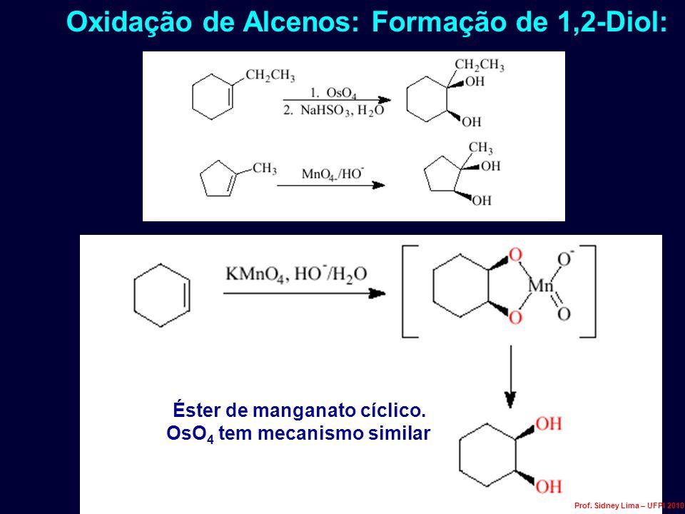 Oxidação de Alcenos: Formação de 1,2-Diol: Éster de manganato cíclico. OsO 4 tem mecanismo similar Prof. Sidney Lima – UFPI 2010