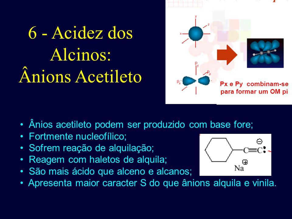 6 - Acidez dos Alcinos: Ânions Acetileto Ânios acetileto podem ser produzido com base fore; Fortmente nucleofílico; Sofrem reação de alquilação; Reage