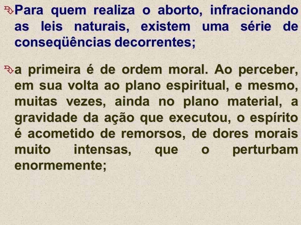  Para quem realiza o aborto, infracionando as leis naturais, existem uma série de conseqüências decorrentes;  a primeira é de ordem moral. Ao perceb