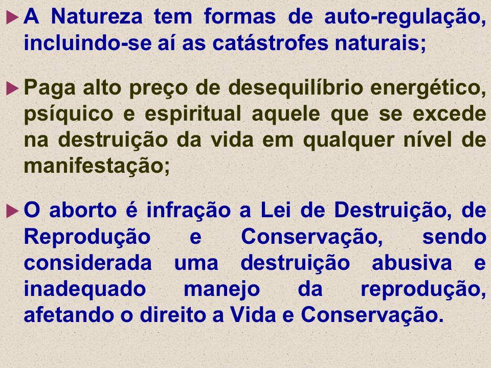  A Natureza tem formas de auto-regulação, incluindo-se aí as catástrofes naturais;  Paga alto preço de desequilíbrio energético, psíquico e espiritu