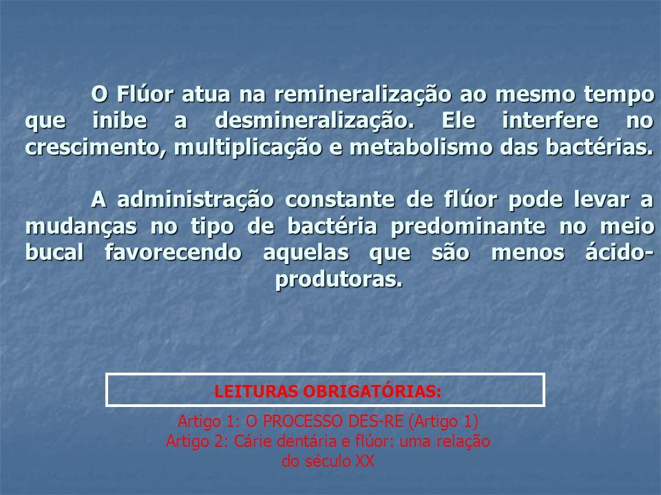 O Flúor atua na remineralização ao mesmo tempo que inibe a desmineralização. Ele interfere no crescimento, multiplicação e metabolismo das bactérias.