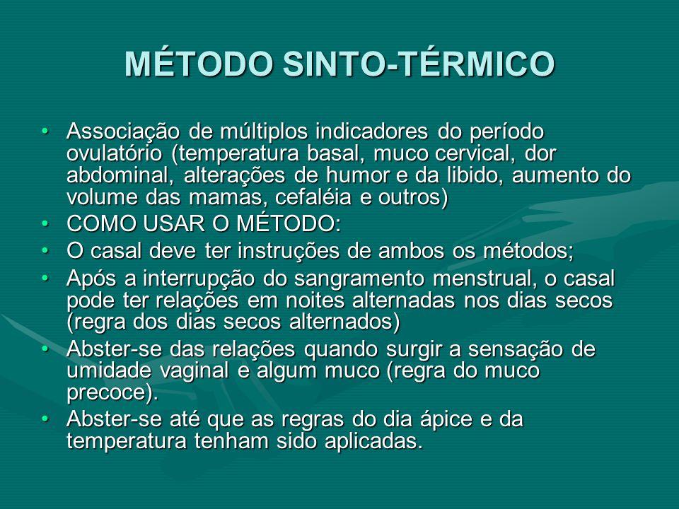 MÉTODO SINTO-TÉRMICO Associação de múltiplos indicadores do período ovulatório (temperatura basal, muco cervical, dor abdominal, alterações de humor e