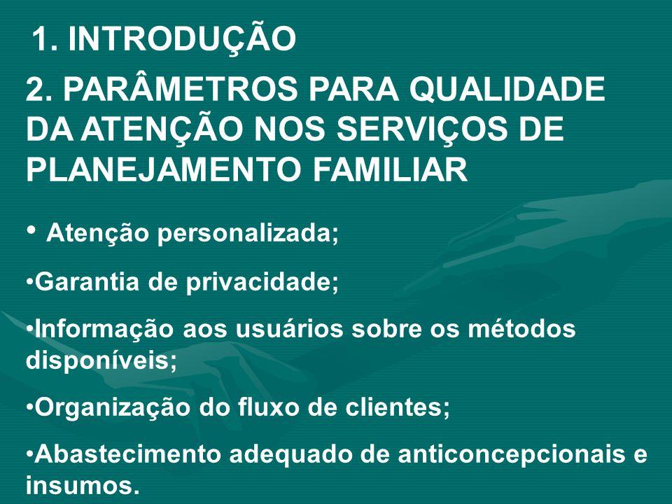 1. INTRODUÇÃO 2. PARÂMETROS PARA QUALIDADE DA ATENÇÃO NOS SERVIÇOS DE PLANEJAMENTO FAMILIAR Atenção personalizada; Garantia de privacidade; Informação