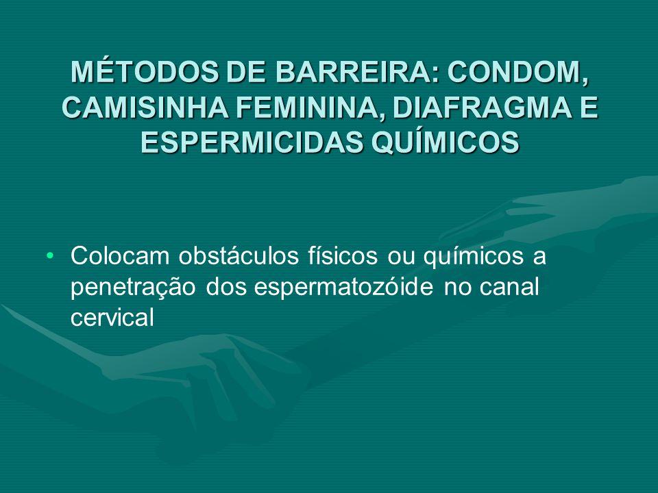 MÉTODOS DE BARREIRA: CONDOM, CAMISINHA FEMININA, DIAFRAGMA E ESPERMICIDAS QUÍMICOS Colocam obstáculos físicos ou químicos a penetração dos espermatozó