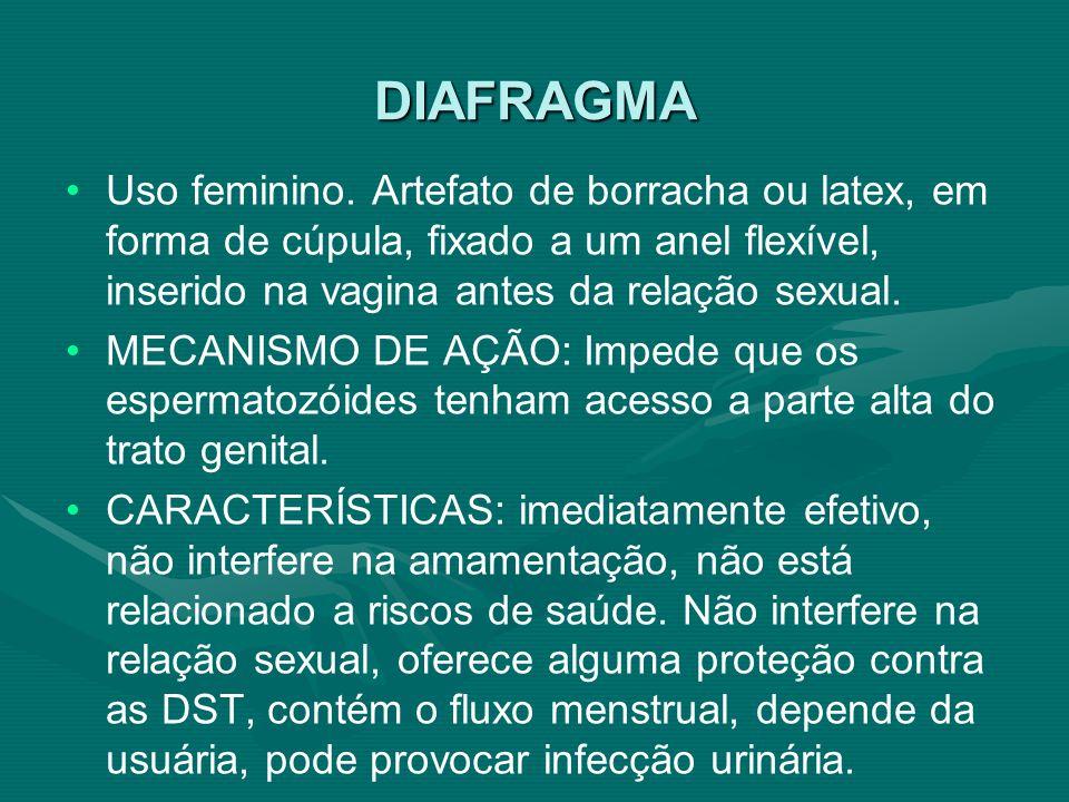 DIAFRAGMA Uso feminino. Artefato de borracha ou latex, em forma de cúpula, fixado a um anel flexível, inserido na vagina antes da relação sexual. MECA