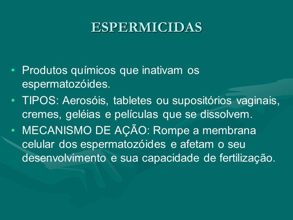 ESPERMICIDAS Produtos químicos que inativam os espermatozóides. TIPOS: Aerosóis, tabletes ou supositórios vaginais, cremes, geléias e películas que se