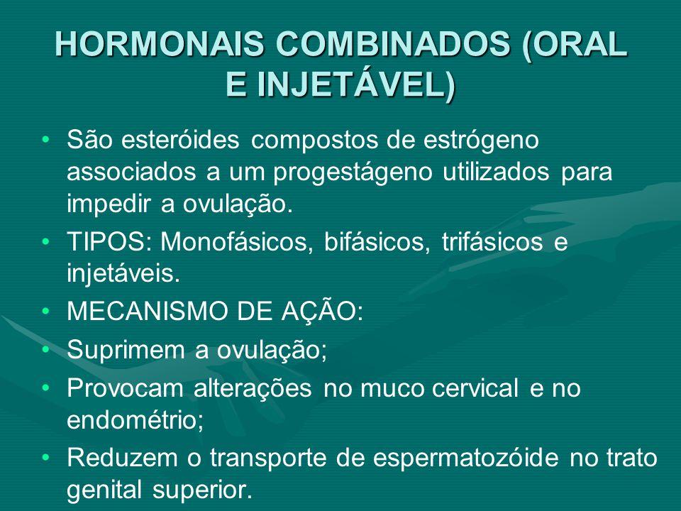 HORMONAIS COMBINADOS (ORAL E INJETÁVEL) São esteróides compostos de estrógeno associados a um progestágeno utilizados para impedir a ovulação. TIPOS: