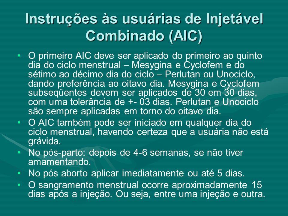 Instruções às usuárias de Injetável Combinado (AIC) O primeiro AIC deve ser aplicado do primeiro ao quinto dia do ciclo menstrual – Mesygina e Cyclofe