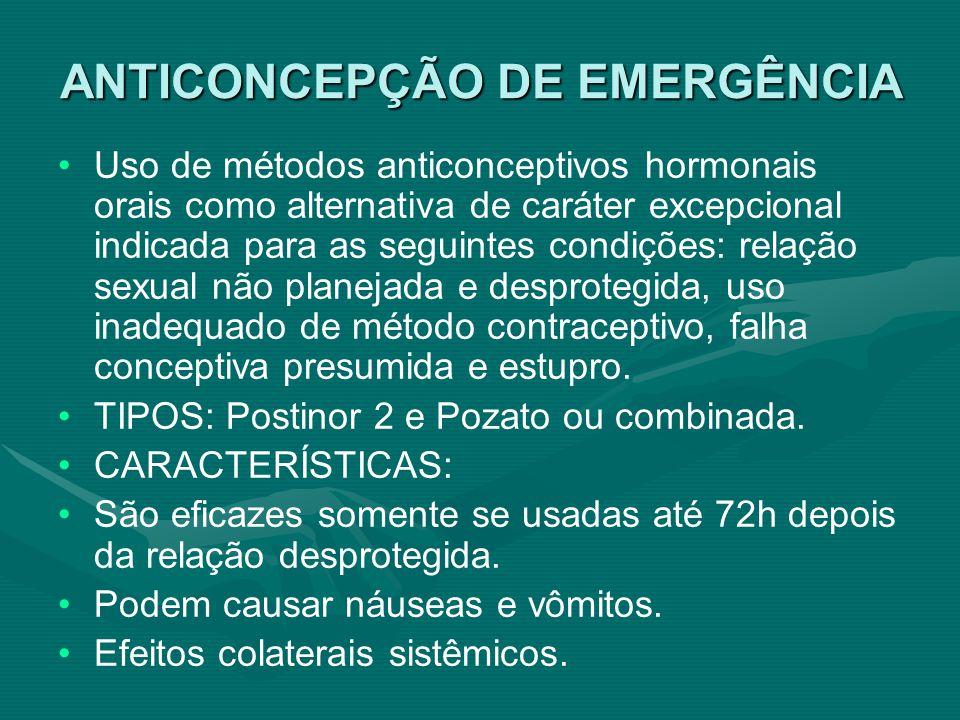 ANTICONCEPÇÃO DE EMERGÊNCIA Uso de métodos anticonceptivos hormonais orais como alternativa de caráter excepcional indicada para as seguintes condiçõe