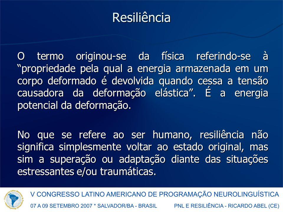 Resiliência O termo originou-se da física referindo-se à propriedade pela qual a energia armazenada em um corpo deformado é devolvida quando cessa a tensão causadora da deformação elástica .