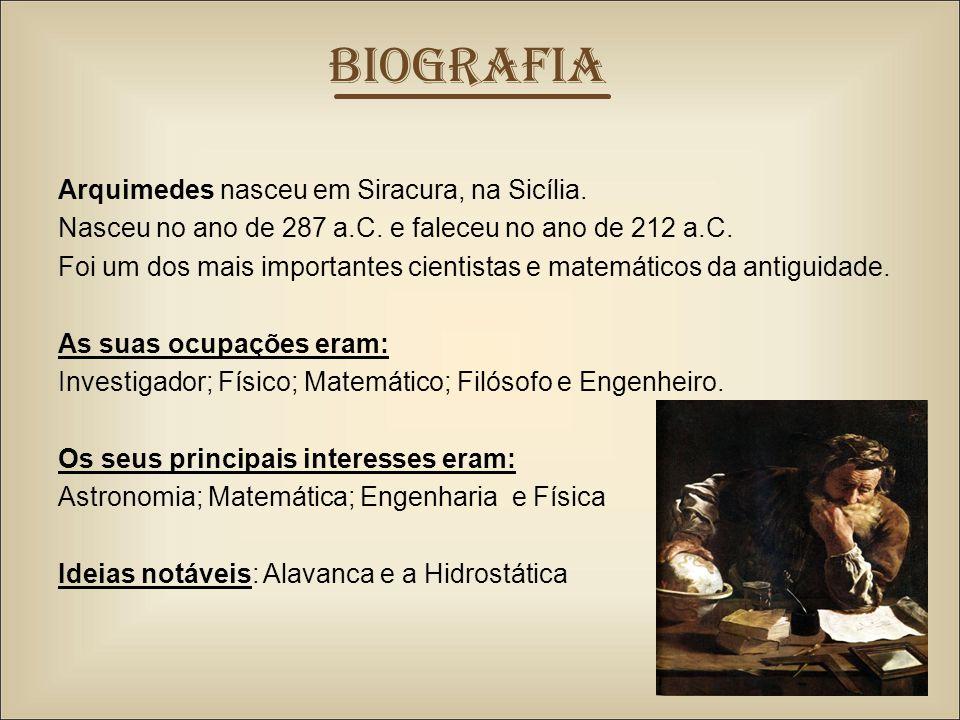 Arquimedes nasceu em Siracura, na Sicília.Nasceu no ano de 287 a.C.