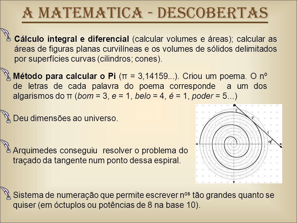 Cálculo integral e diferencial (calcular volumes e áreas); calcular as áreas de figuras planas curvilíneas e os volumes de sólidos delimitados por superfícies curvas (cilindros; cones).