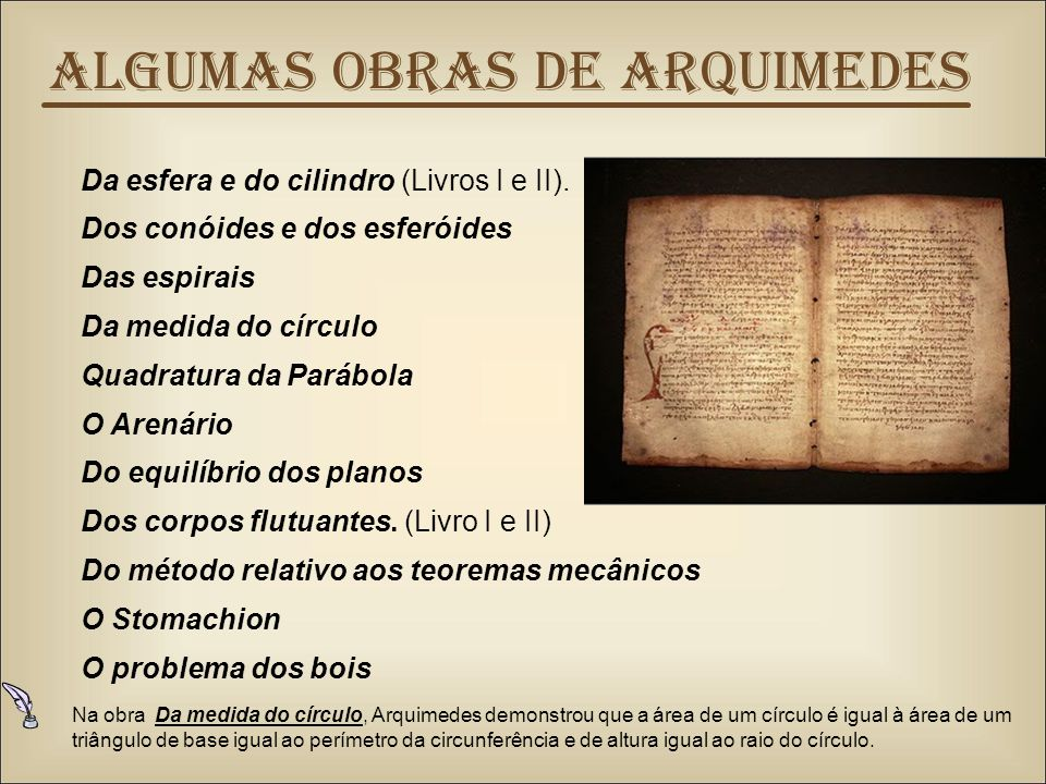 Algumas obras de Arquimedes Da esfera e do cilindro (Livros I e II).