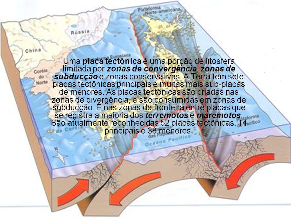 Uma placa tectônica é uma porção de litosfera limitada por zonas de convergência, zonas de subducção e zonas conservativas. A Terra tem sete placas te