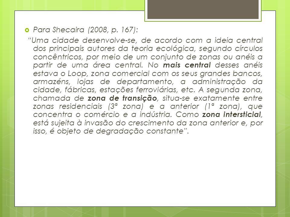 """ Para Shecaira (2008, p. 167): """"Uma cidade desenvolve-se, de acordo com a ideia central dos principais autores da teoria ecológica, segundo círculos"""