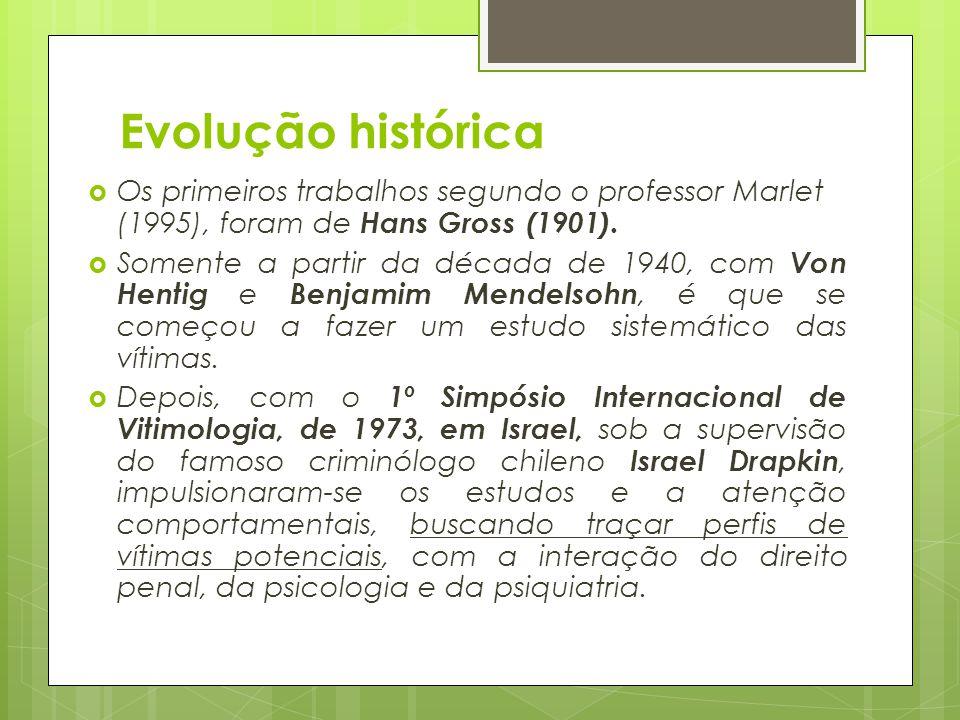 Evolução histórica  Os primeiros trabalhos segundo o professor Marlet (1995), foram de Hans Gross (1901).  Somente a partir da década de 1940, com V