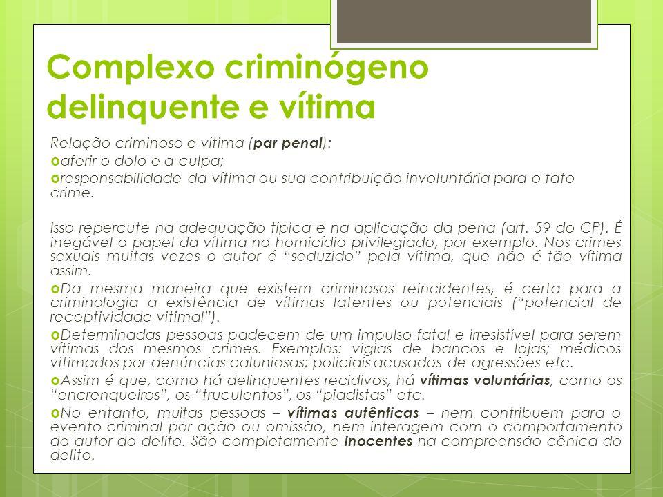 Complexo criminógeno delinquente e vítima Relação criminoso e vítima ( par penal ):  aferir o dolo e a culpa;  responsabilidade da vítima ou sua con