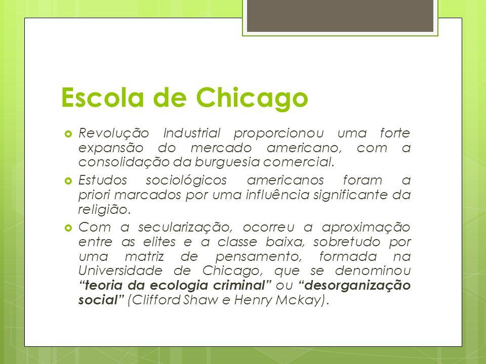Escola de Chicago  Revolução Industrial proporcionou uma forte expansão do mercado americano, com a consolidação da burguesia comercial.  Estudos so