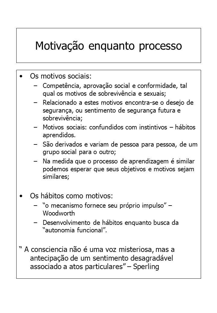 Motivação enquanto processo Os motivos sociais: –Competência, aprovação social e conformidade, tal qual os motivos de sobrevivência e sexuais; –Relaci