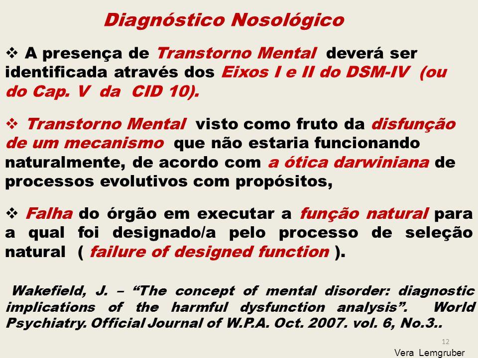 12 Vera Lemgruber Diagnóstico Nosológico  A presença de Transtorno Mental deverá ser identificada através dos Eixos I e II do DSM-IV (ou do Cap.