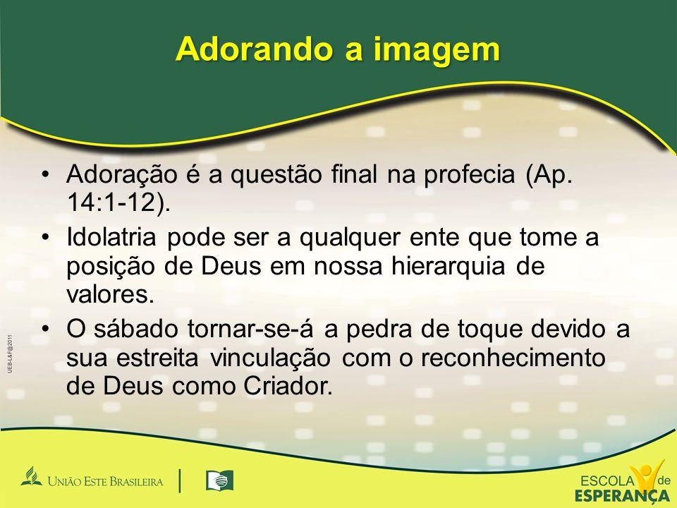 Adorando a imagem Adoração é a questão final na profecia (Ap. 14:1-12). Idolatria pode ser a qualquer ente que tome a posição de Deus em nossa hierarq