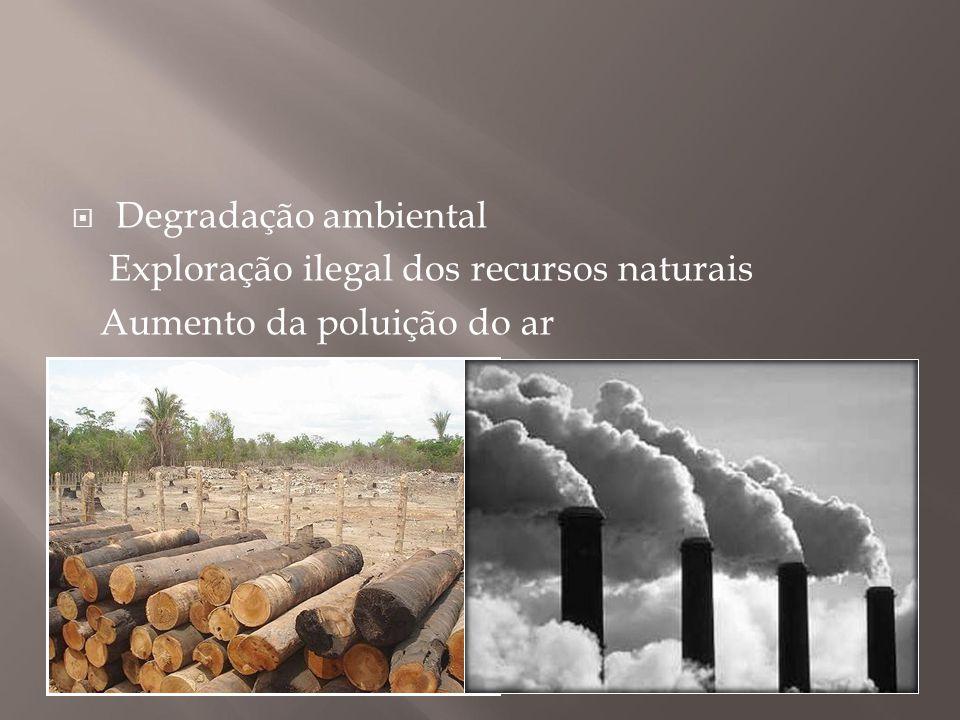  Degradação ambiental Exploração ilegal dos recursos naturais Aumento da poluição do ar