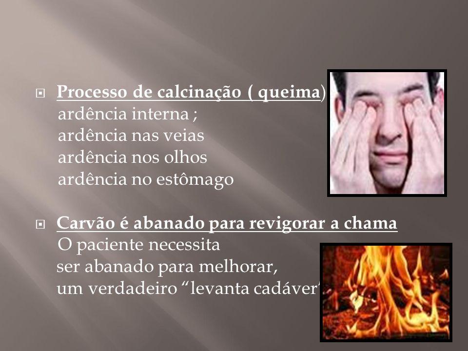  Processo de calcinação ( queima ): ardência interna ; ardência nas veias ardência nos olhos ardência no estômago  Carvão é abanado para revigorar a