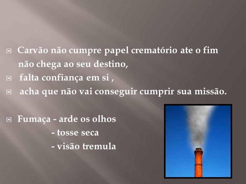  Carvão não cumpre papel crematório ate o fim não chega ao seu destino,  falta confiança em si,  acha que não vai conseguir cumprir sua missão.  F
