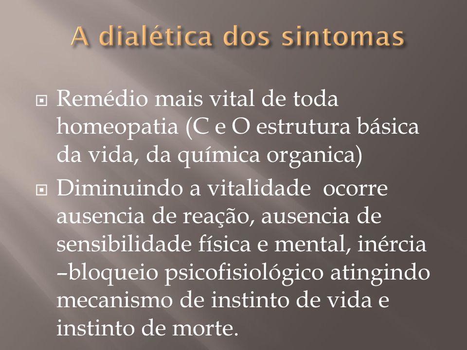  Remédio mais vital de toda homeopatia (C e O estrutura básica da vida, da química organica)  Diminuindo a vitalidade ocorre ausencia de reação, aus