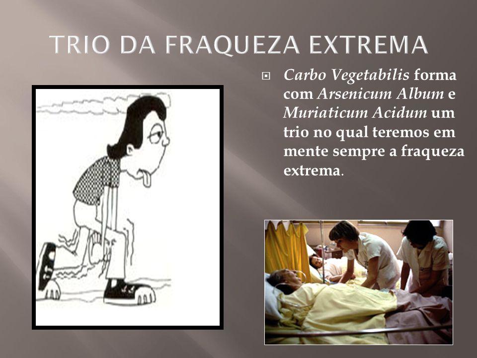  Carbo Vegetabilis forma com Arsenicum Album e Muriaticum Acidum um trio no qual teremos em mente sempre a fraqueza extrema.
