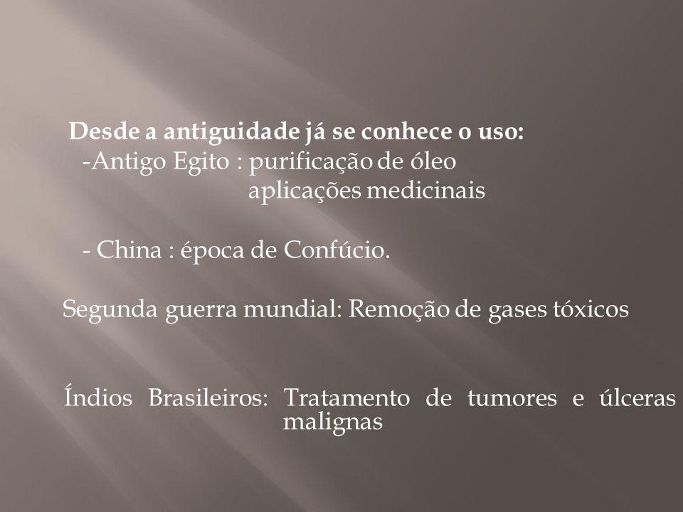 Desde a antiguidade já se conhece o uso: -Antigo Egito : purificação de óleo aplicações medicinais - China : época de Confúcio. Segunda guerra mundial