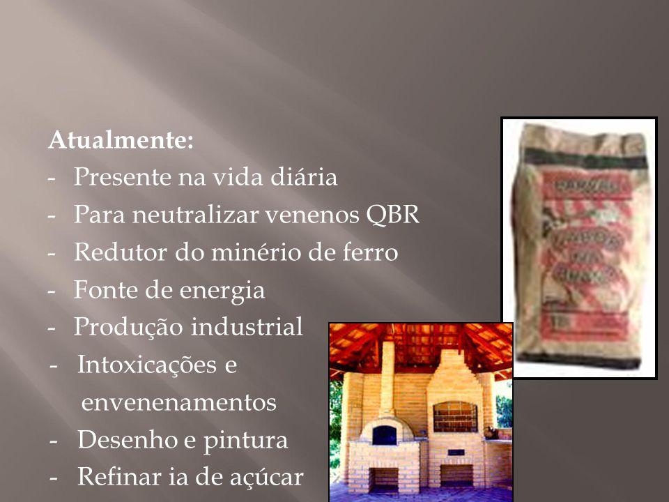 Atualmente: -Presente na vida diária -Para neutralizar venenos QBR ( -Redutor do minério de ferro -Fonte de energia -Produção industrial - Intoxicaçõe