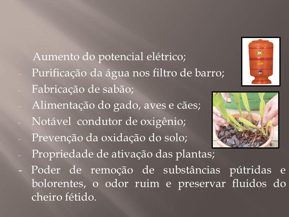 Aumento do potencial elétrico; - Purificação da água nos filtro de barro; - Fabricação de sabão; - Alimentação do gado, aves e cães; - Notável conduto