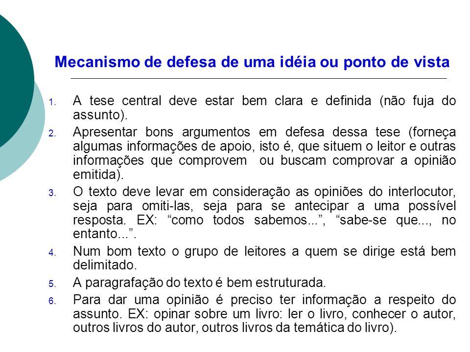 Mecanismo de defesa de uma idéia ou ponto de vista 1. A tese central deve estar bem clara e definida (não fuja do assunto). 2. Apresentar bons argumen
