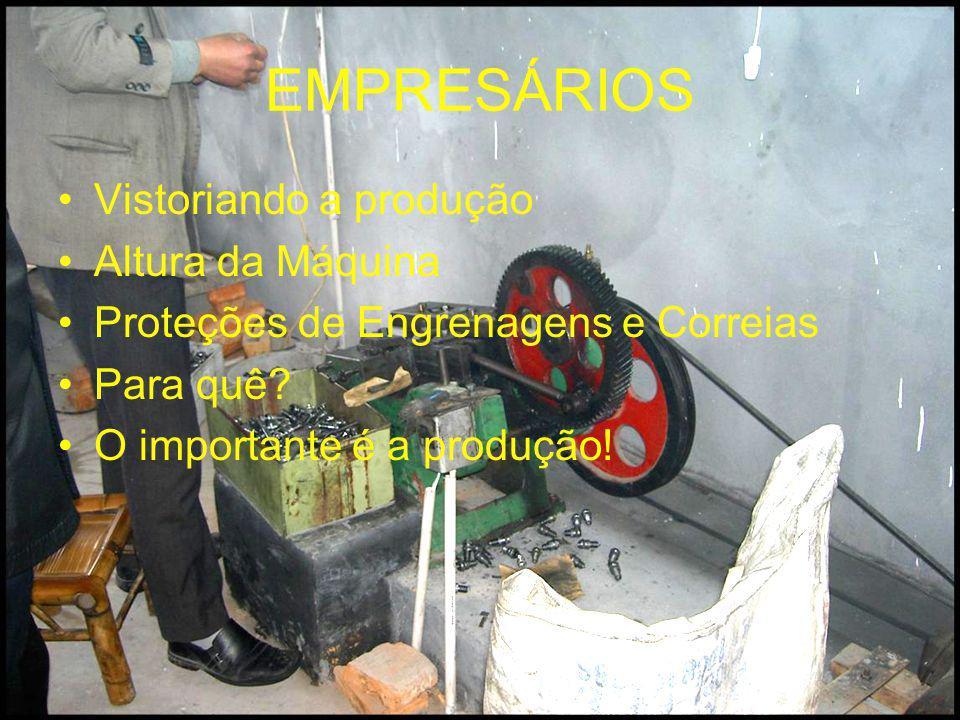 EMPRESÁRIOS Vistoriando a produção Altura da Máquina Proteções de Engrenagens e Correias Para quê? O importante é a produção!