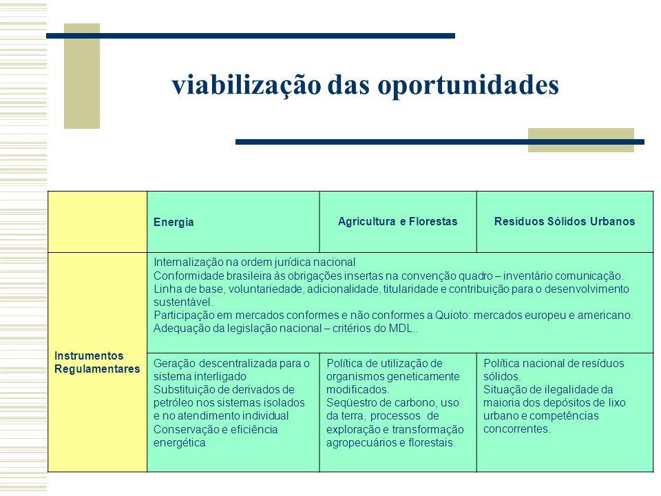 viabilização das oportunidades EnergiaAgricultura e FlorestasResíduos Sólidos Urbanos Instrumentos Regulamentares Internalização na ordem jurídica nacional Conformidade brasileira às obrigações insertas na convenção quadro – inventário comunicação.