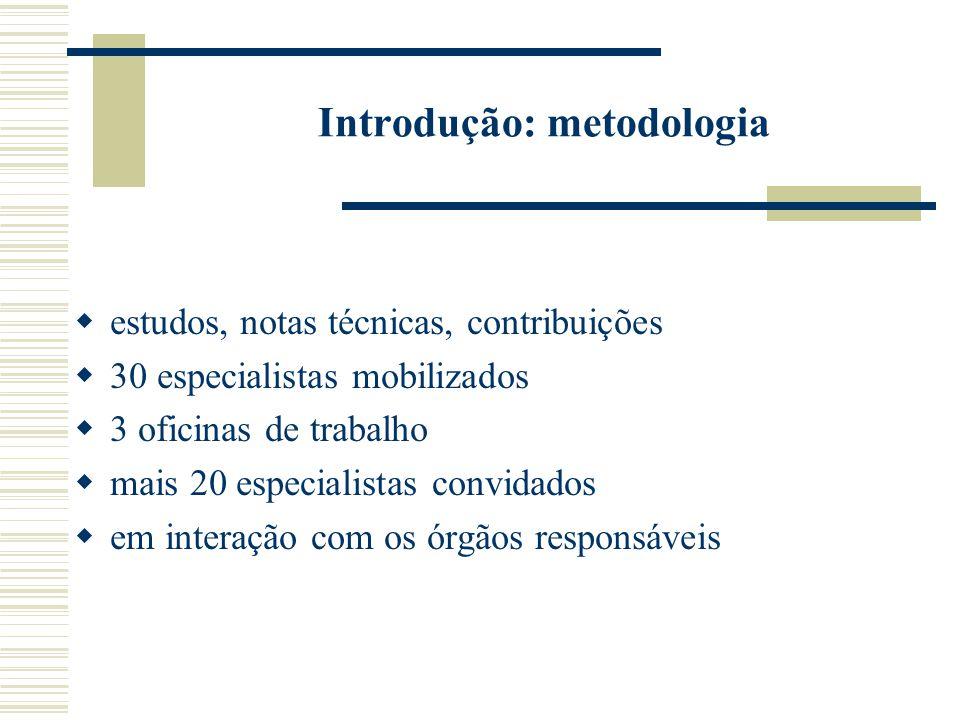 Introdução: metodologia  estudos, notas técnicas, contribuições  30 especialistas mobilizados  3 oficinas de trabalho  mais 20 especialistas convidados  em interação com os órgãos responsáveis