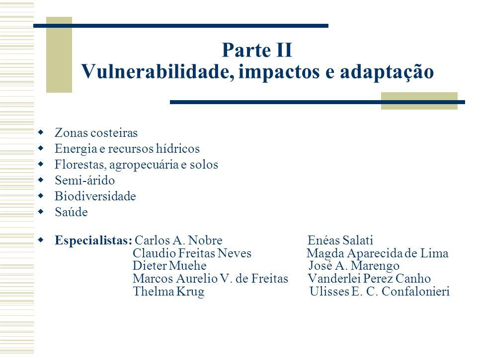 Parte II Vulnerabilidade, impactos e adaptação  Zonas costeiras  Energia e recursos hídricos  Florestas, agropecuária e solos  Semi-árido  Biodiversidade  Saúde  Especialistas: Carlos A.
