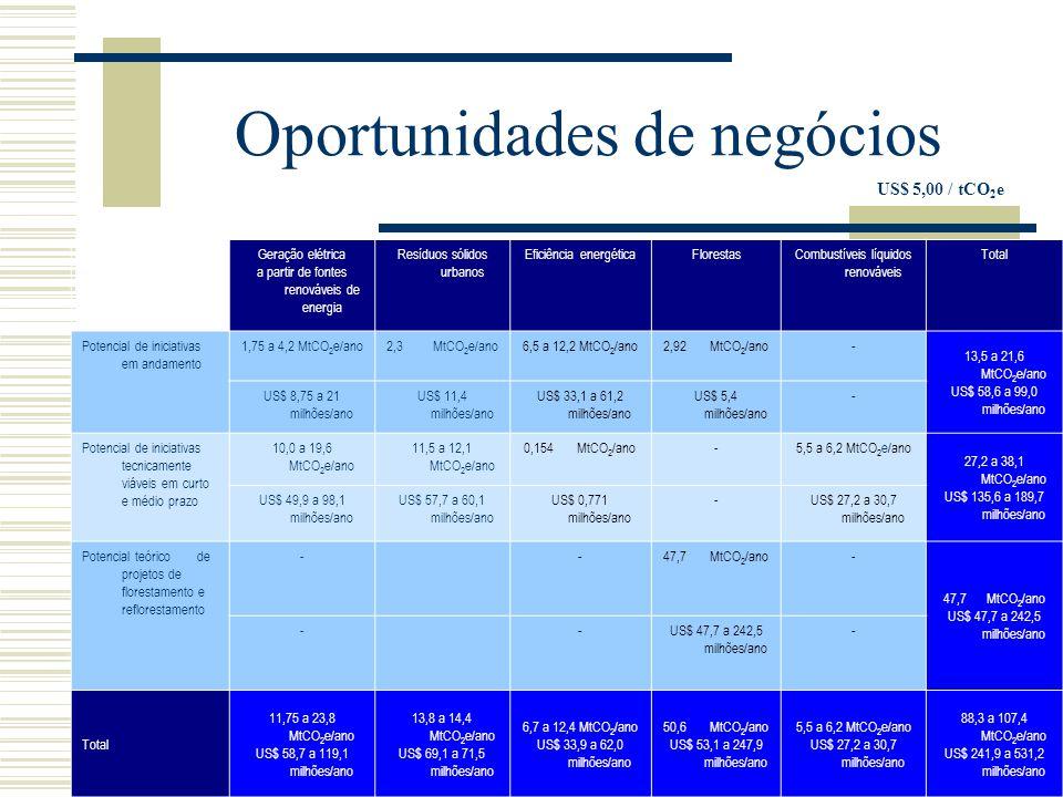 Oportunidades de negócios US$ 5,00 / tCO 2 e Geração elétrica a partir de fontes renováveis de energia Resíduos sólidos urbanos Eficiência energéticaFlorestasCombustíveis líquidos renováveis Total Potencial de iniciativas em andamento 1,75 a 4,2 MtCO 2 e/ano2,3 MtCO 2 e/ano6,5 a 12,2 MtCO 2 /ano2,92 MtCO 2 /ano- 13,5 a 21,6 MtCO 2 e/ano US$ 58,6 a 99,0 milhões/ano US$ 8,75 a 21 milhões/ano US$ 11,4 milhões/ano US$ 33,1 a 61,2 milhões/ano US$ 5,4 milhões/ano - Potencial de iniciativas tecnicamente viáveis em curto e médio prazo 10,0 a 19,6 MtCO 2 e/ano 11,5 a 12,1 MtCO 2 e/ano 0,154 MtCO 2 /ano-5,5 a 6,2 MtCO 2 e/ano 27,2 a 38,1 MtCO 2 e/ano US$ 135,6 a 189,7 milhões/ano US$ 49,9 a 98,1 milhões/ano US$ 57,7 a 60,1 milhões/ano US$ 0,771 milhões/ano -US$ 27,2 a 30,7 milhões/ano Potencial teórico de projetos de florestamento e reflorestamento --47,7 MtCO 2 /ano- US$ 47,7 a 242,5 milhões/ano -- - Total 11,75 a 23,8 MtCO 2 e/ano US$ 58,7 a 119,1 milhões/ano 13,8 a 14,4 MtCO 2 e/ano US$ 69,1 a 71,5 milhões/ano 6,7 a 12,4 MtCO 2 /ano US$ 33,9 a 62,0 milhões/ano 50,6 MtCO 2 /ano US$ 53,1 a 247,9 milhões/ano 5,5 a 6,2 MtCO 2 e/ano US$ 27,2 a 30,7 milhões/ano 88,3 a 107,4 MtCO 2 e/ano US$ 241,9 a 531,2 milhões/ano