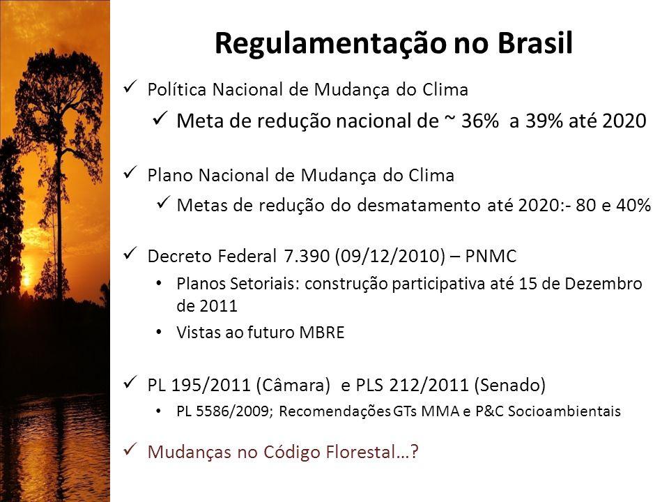 Regulamentação no Brasil Política Nacional de Mudança do Clima Meta de redução nacional de ~ 36% a 39% até 2020 Plano Nacional de Mudança do Clima Met